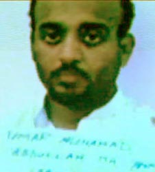 Ramzi Bin al-Shibh shortly after arrest. The name shown under his face is one of his aliases. (Note: this picture is from a video presentation on prisoners the Pakistani government gave to BBC filmmakers. It has been adjusted to remove some blue tinge.)